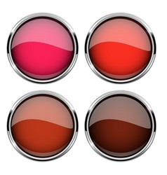 collection of red glass buttons with chrome frame vector image