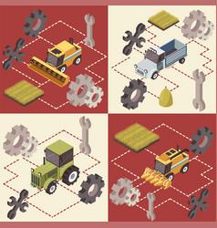 farm vehicles isometric concept vector image