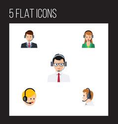 flat telemarketing set of secretary call center vector image vector image