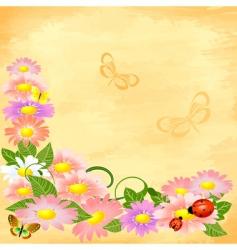 floral corner on grunge background vector image vector image