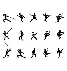 martial arts symbol people icons vector image