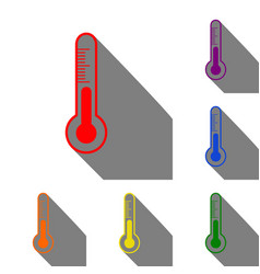 meteo diagnostic technology thermometer sign set vector image