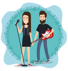 music festival live with couple playing electric vector image
