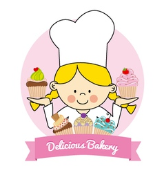 pastry girl vector image vector image
