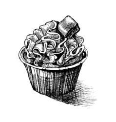 black and white sketch cute creamy sweet cupcake vector image