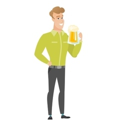 Businessman drinking beer vector image vector image