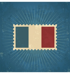 Retro France Flag Postage Stamp vector image vector image
