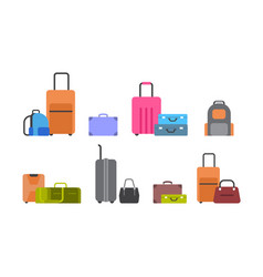 suitcases bags and backpacks set of icons vector image