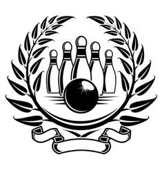 bowling symbol in laurel wreath in retro style vector image vector image