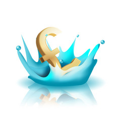 currency water splash gold pound vector image vector image