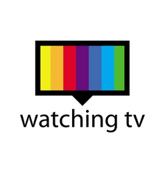 logo with a spectrum in the TV screen vector image