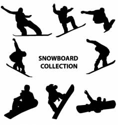 snowboard silhouettes vector image vector image