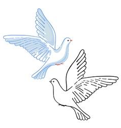 Soaring dove colored black vector image vector image
