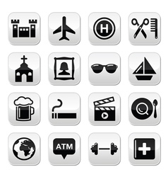 Travel tourism and transport buttons set vector image