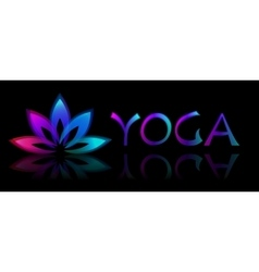 Yoga lotus logo on black background vector image vector image
