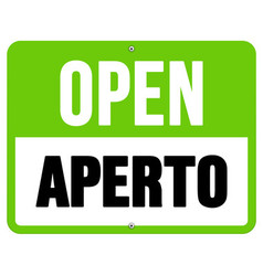 Aperto sign in black and green vector image vector image