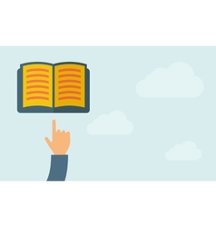 Hand pointing to a book vector image