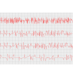 red heart cardiogram vector image