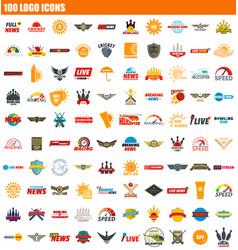100 logo icon set flat style vector image