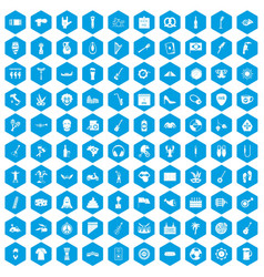 100 street festival icons set blue vector