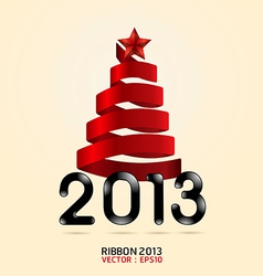 2013 ribbon abstract xmas tree vector image vector image
