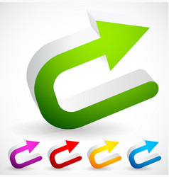3d colorful u turn backward or return arrows vector