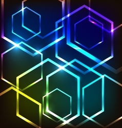 Abstract colorful glowing background with hexagons vector