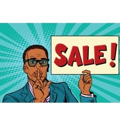 African businessman the secret sale vector