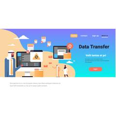 Arabic people working data transfer vector