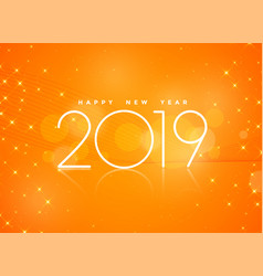Beautiful orange 2019 happy new year background vector