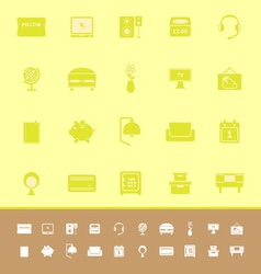 Bedroom color icons on yellow background vector
