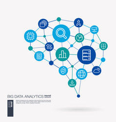 bigdata analytics research big data info center vector image