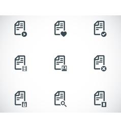 black documents icons set vector image