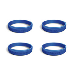 Blue plastic wristband set for friendship day vector