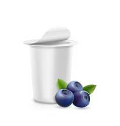 Blueberry yogurt container and berries vector