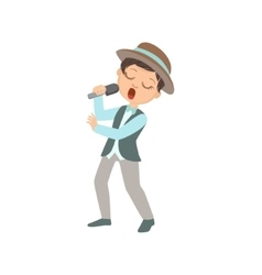 Boy In Hat Singing In Karaoke vector