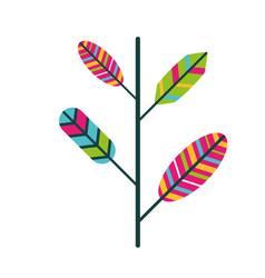 branch feathers retro vintage hippie vector image
