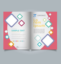 Brochure template geometric squares colorful vector