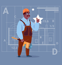 cartoon african american builder wearing uniform vector image