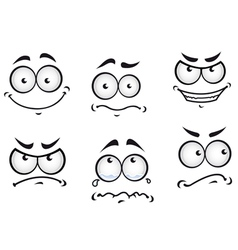 Cartoon comics faces set vector image vector image