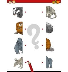 Cartoon education game of halves vector