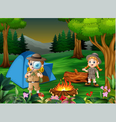 Cartoon of children camping out in the forest vector