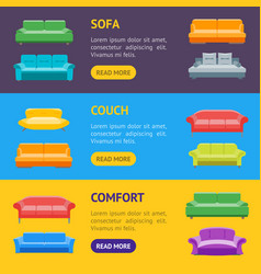 cartoon sofa or divan banner horizontal set vector image vector image