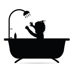 Child in bathtub silhouette vector
