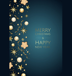 christmas bright background with golden xmas vector image