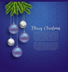 christmas greeting design with hanging balls vector image