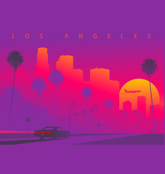 Cityscape los angeles during sunset vector