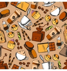 Coffee tea desserts seamless background vector image