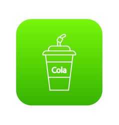 cola plastic glass icon green vector image