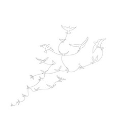 continuous line drawing with a flock flying vector image